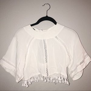 White Cropped Indie Top